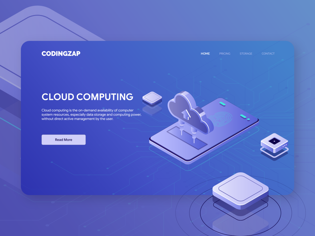 Cloudzap- Cloud computing UI UX concept